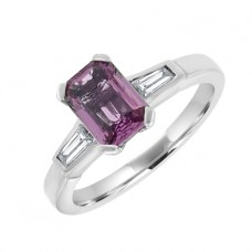 18ct White Gold Pink Sapphire with Baguette Diamond Ring