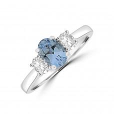 18ct White Gold Aquamarine & Diamond Oval Three-stone Ring