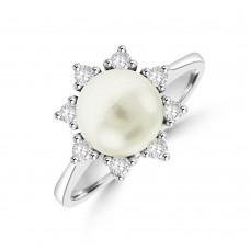 18ct White Gold Cultured Pearl & Diamond Dress Ring