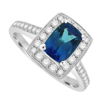 18ct White Gold Tanzanite & Diamond Halo Ring