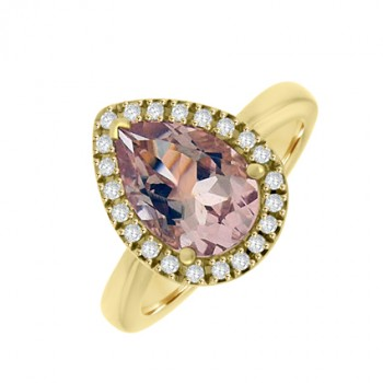 18ct Rose Gold Marganite & Diamond Pear Halo Ring