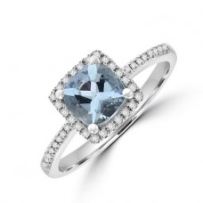 18ct White Gold Aqua & Diamond Halo Ring