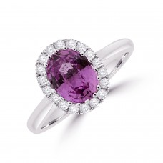 18ct White Gold Pink Sapphire Diamond Oval Halo Ring