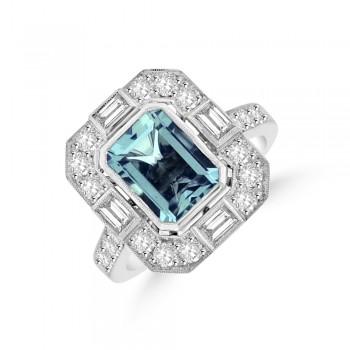 18ct White Gold Emerald cut Aquamarine Baguette Diamond Ring