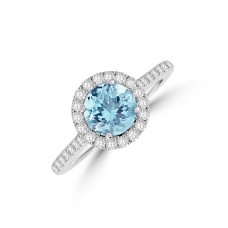 18ct White Gold Aquamarine Diamond Halo Ring
