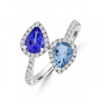 18ct White Gold Tanzanite & Aquamarine Diamond Crossover Ring