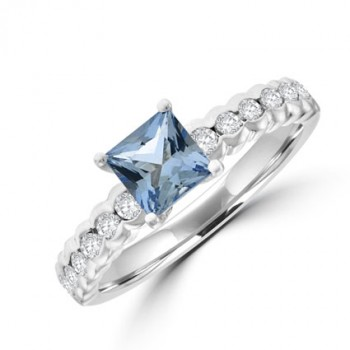 18ct White Gold Princess Aqua & Diamond Ring
