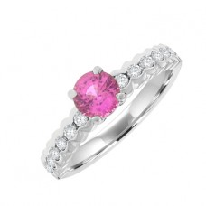 18ct White Gold Pink Sapphire Solitaire Ring