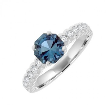 18ct White Gold Aqua Solitaire Ring