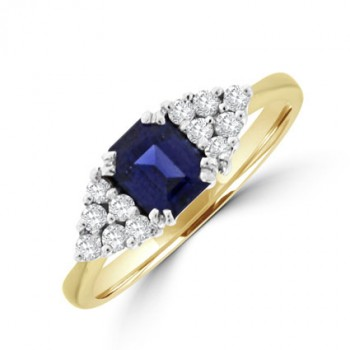 9ct Gold Sapphire & Diamond Boat Cluster Ring