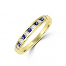 9ct Gold Sapphire and Diamond Channel Eternity Ring