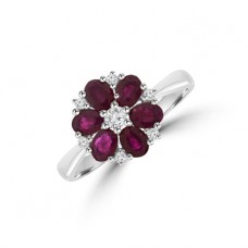 9ct White Gold Ruby & Diamond Daisy Cluster Ring