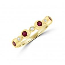 9ct Gold Ruby & Diamond Bubble Eternity Ring