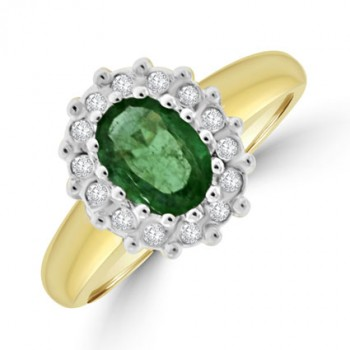 9ct Gold Emerald & Diamond Oval Cluster Ring