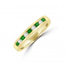 9ct Gold Emerald & Diamond Eternity Ring