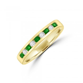 9ct Gold Emerald & Diamond Eternity Ring