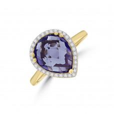 9ct Gold Amethyst Pear Diamond Halo Ring