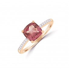 18ct Rose Gold Pink Tourmaline Solitaire Ring with Diamond
