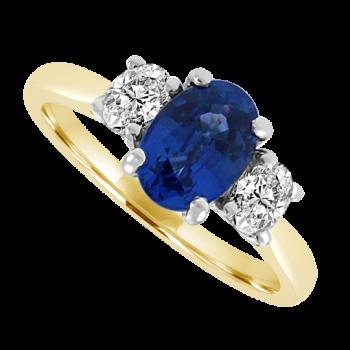18ct Gold 3-Stone Sapphire & Diamond Ring
