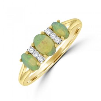 9ct Gold Three-stone Opal Diamond Ring