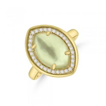 9ct Yellow Gold Smokey Quartz & Diamond Dress Ring