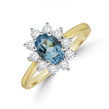 18ct Gold Blue Topaz & Diamond Oval Cluster Ring