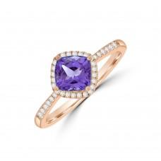 18ct Rose Gold Cushion Tanzanite Diamond Halo Ring