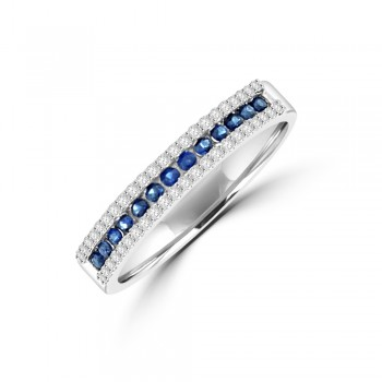 9ct White Gold 3-Row Sapphire & Diamond Eternity Ring