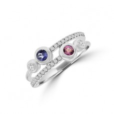 9ct White Gold Tanzanite, Pink Sapphire & Diamond Eternity Ring