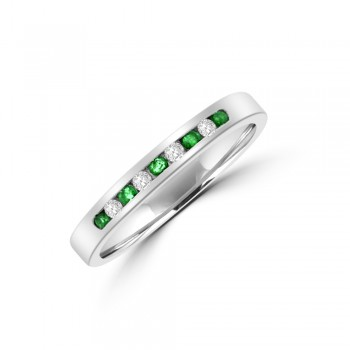 9ct White Gold Emerald & Diamond Eternity Ring