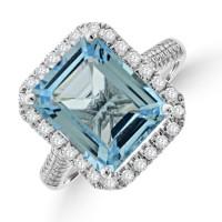 9ct White Gold Blue Topaz Diamond Halo Ring