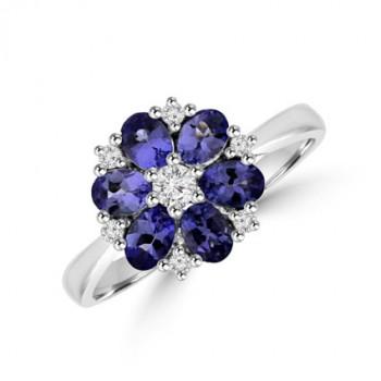9ct White Gold Tanzanite & Diamond Daisy Cluster Ring