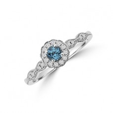 9ct White Gold Blue Topaz Diamond Halo Ring