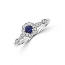 9ct White Gold Tanzanite Diamond Halo Ring