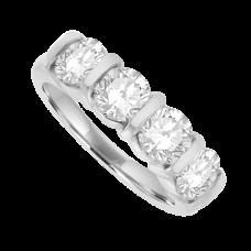 Platinum 4-stone Diamond Bar Set Eternity Ring