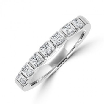 Platinum 7-stone Princess cut Diamond Bar set Eternity Ring