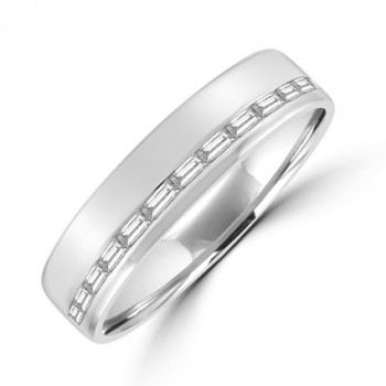 Platinum Baguette Diamond Offset Eternity Ring