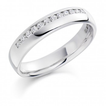 Platinum Offset Diamond Wedding Ring
