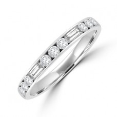Platinum Brilliant & Baguette Diamond Channel Eternity Ring