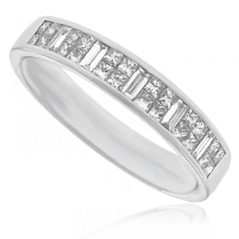 Platinum Princess & Baguette cut Diamond Wedding Ring