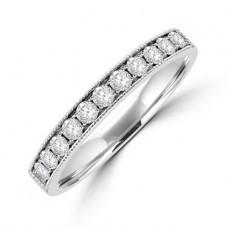 Platinum 11-stone Diamond Millegrain Eternity Ring