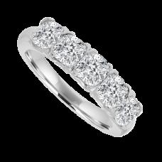 Platinum 5-stone Cushion Cut Diamond Eternity Ring