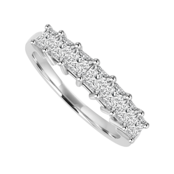 Platinum 7-stone Princess cut Diamond Eternity Ring