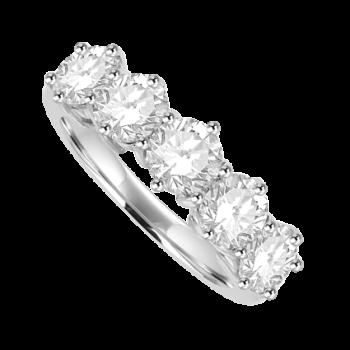 Platinum 5-stone Diamond Eternity Ring 2.06ct