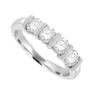 Platinum 5-stone Diamond Bar Set Eternity Ring .83ct