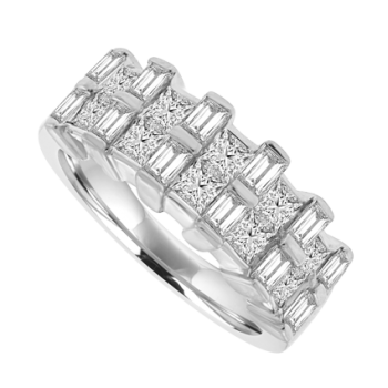 Platinum 2-Row Broad Band Eternity Ring