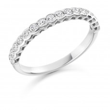 Platinum 16-stone .50ct Diamond Rubover Eternity Ring