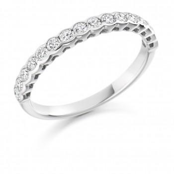 Platinum 16-stone .50ct Diamond Rubover Eternity Ring
