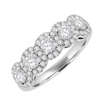 Platinum 5 stone Diamond  Cluster Eterity Ring