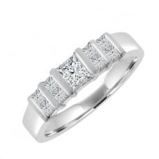 Platinum 8x1 Princess cut Diamond Eternity Ring